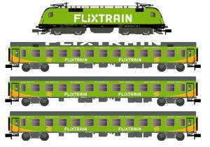 LC95001  Hobbytrain Set 1, Taurus BR 182 505 Flixtrain mit 3 Wagen 1x Bomz236, 2x Bom024