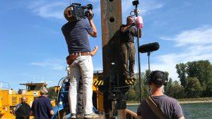 SWR installiert Webcams an der Bergungsstelle – Im Rhein versunkene Dampflok wird gehoben – Vorbereitungen für Fernsehsendung am 21. Oktober