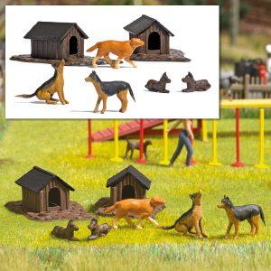 BUSCH - Hunde-Set m. Hütten 1197 für Spur H0