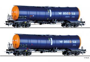 Art.-Nr.: 70040 Güterwagenset der WASCOSA AG, bestehend aus zwei Kesselwagen Zacns, Ep. VI