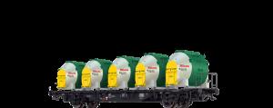 """BRAWA - 49135 Behältertragwagen Lbs 589 der DB, mit Efkr 401 """"Knorr"""" Ep. IV"""
