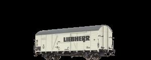 """BRAWA - Gedeckter Güterwagen Glr 22 """"Liebherr"""" der DB"""