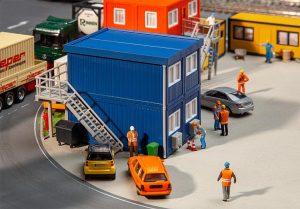 FALLER 130134 4 Baucontainer, blau in Spur H0