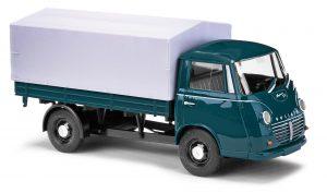 BUSCH 94210 Goliath Express 1100 Pritschenwagen, Blaugrün mit Plane