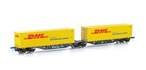 MEHANO Containertragwagen Sggmrss 90 schwarz m. 2x DHL Container