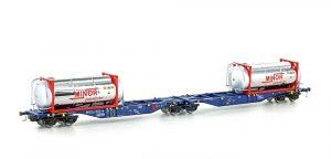 MEHANO Containertragwagen Sggmrss 90 blau m. 2x MINOR Tankcontainer