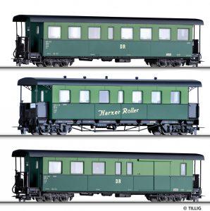 """TILLIG Art.-Nr.: 01175 Personenwagenset """"Harzer Roller"""" der DR, bestehend aus zwei Personenwagen und einem Packwagen, Ep. IV"""