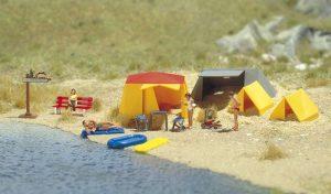 BUSCH 6026 Motiv-Set: Ein kleiner Campingplatz für Spur H0
