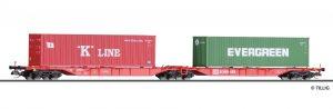 TILLIG Art.-Nr.: 18033 Doppeltragwagen Sggmrs der DB AG, beladen mit zwei Containern, Ep. VI