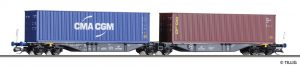 TILLIG 18061 Containertragwagen Sggmrss der PKP Cargo, beladen mit zwei 40'-Containern, Ep. V